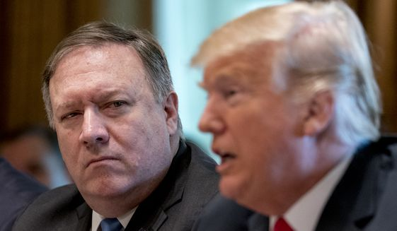 President Donald Trump, accompanied by Secretary of State Mike Pompeo, left, speaks during a Cabinet meeting in the Cabinet Room of the White House, Thursday, Aug. 16, 2018, in Washington. (AP Photo/Andrew Harnik) ** FILE **