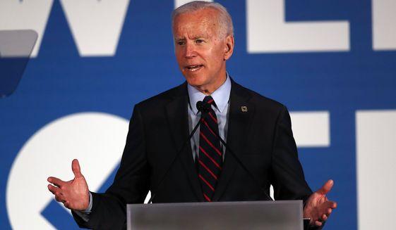 Democratic presidential candidate former Vice President Joe Biden speaks during the I Will Vote Fundraising Gala Thursday, June 6, 2019, in Atlanta. (AP Photo/John Bazemore)