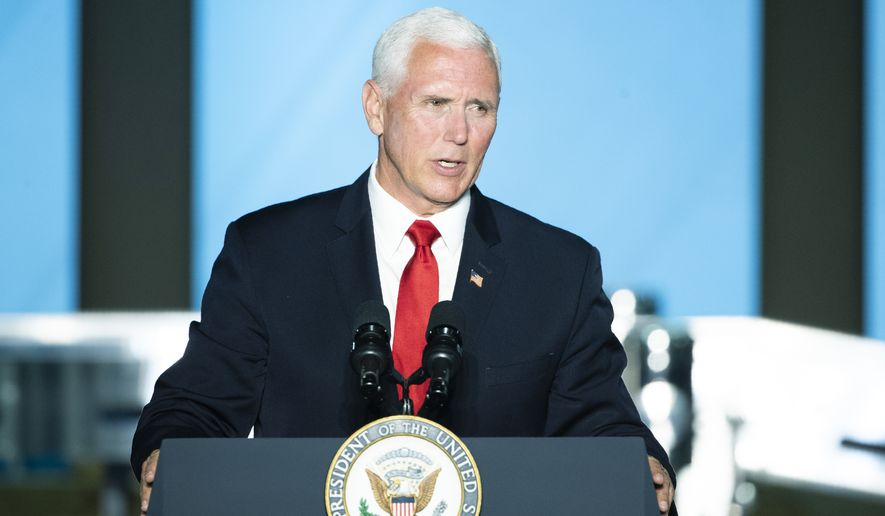 Vice President Mike Pence speaks at JLS Automation in York, Pa., Thursday, June 6, 2019. (AP Photo/Matt Rourke)