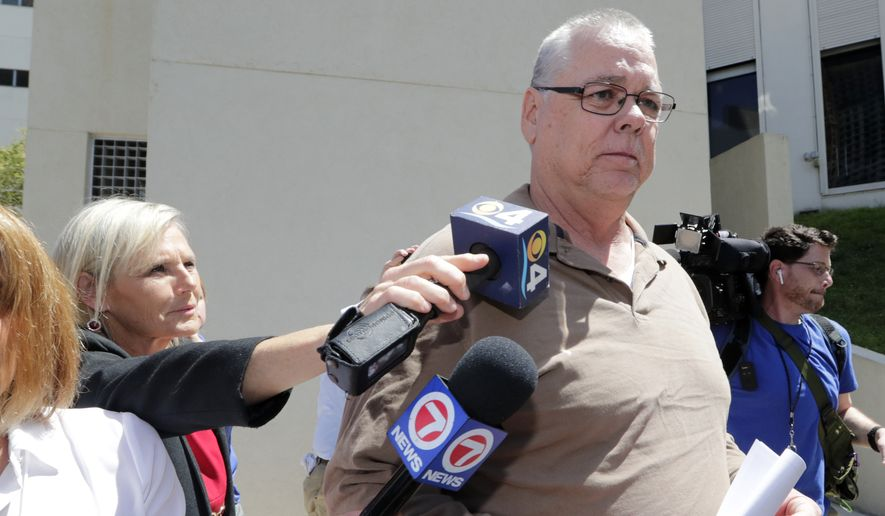 Scot Peterson leaves the Broward County Jail after posting bond, Thursday, June 6, 2019, in Fort Lauderdale, Fla. Peterson, who was the assigned resource officer at Marjory Stoneman Douglas High School, has been charged with 11 criminal counts after failing to confront the gunman in the Parkland school massacre. (AP Photo/Lynne Sladky)