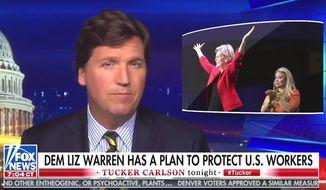 "Fox News' Tucker Carlson discusses an ""economic patriotism"" plan by Massachusetts Sen. Elizabeth Warren, June 5, 2019. (Image: Fox News, ""Tucker Carlson Tonight"" screenshot)"