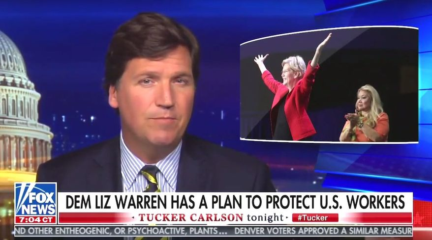"Fox News' Tucker Carlson discusses an ""economic patriotism"" plan by Massachusetts Sen. Elizabeth Warren, June 5, 2019. (Image: Fox News, ""Tucker Carlson Tonight"" screenshot) ** FILE **"