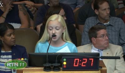 Addison Woosley, a 13-year-old North Carolina girl, was jeered while giving a statement against abortion during a heated Raleigh City Council meeting Tuesday night. (Raleigh City Council via The News & Observer)