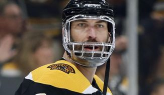 Boston Bruins' Zdeno Chara, of Slovakia, warms up before Game 5 of the NHL hockey Stanley Cup Final against the St. Louis Blues, Thursday, June 6, 2019, in Boston. (AP Photo/Michael Dwyer)