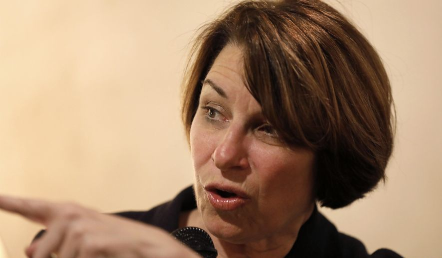 Democratic presidential candidate Sen. Amy Klobuchar, D-Minn., speaks to local residents during a meet and greet at a coffee shop, Saturday, May 25, 2019, in Iowa Falls, Iowa. (AP Photo/Charlie Neibergall)
