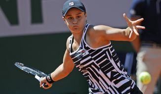 Australia's Asleigh Barty plays a shot against Madison Keys of the U.S. during their quarterfinal match of the French Open tennis tournament at the Roland Garros stadium in Paris, Thursday, June 6, 2019. (AP Photo/Pavel Golovkin)