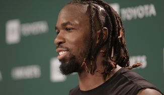 FILE - In this May 23, 2019, file photo, New York Jets' C.J. Mosley speaks to reporters after the NFL football team's practice in Florham Park, N.J. Mosley's resume speaks for itself: He has had at least 100 tackles in every season but 2016, when he missed two games with an injury and finished with 92. Mosley, who turns 27 on June 19, also has nine career interceptions, 8 1/2 sacks and six forced fumbles.(AP Photo/Seth Wenig, File)