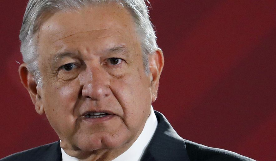 In this April 9, 2019, file photo, Mexican President Andres Manuel Lopez Obrador answers questions from journalists at his daily 7 a.m. press conference at the National Palace in Mexico City, Tuesday. (AP Photo/Marco Ugarte, File) ** FILE **