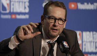 Toronto Raptors head coach Nick Nurse speaks at a news conference after Game 3 of basketball's NBA Finals between the Golden State Warriors and the Raptors in Oakland, Calif., Wednesday, June 5, 2019. (AP Photo/Ben Margot)