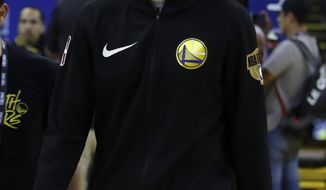 Golden State Warriors' Klay Thompson walks off the court after practice for the NBA Finals against the Toronto Raptors Thursday, June 6, 2019, in Oakland, Calif. Game 4 of the NBA Finals is Friday, June 7, 2019 in Oakland, Calif. (AP Photo/Ben Margot)