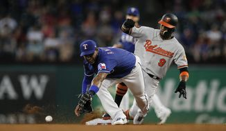 Texas Rangers shortstop Elvis Andrus (1) is unable to catch the throw from home as Baltimore Orioles' Keon Broxton (9) steals second during the fourth inning of a baseball game Wednesday, June 5, 2019, in Arlington, Texas. (AP Photo/Brandon Wade)