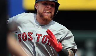 Boston Red Sox' Christian Vazquez runs the bases during the seventh inning of a baseball game against the Kansas City Royals at Kauffman Stadium in Kansas City, Mo., Thursday, June 6, 2019. Vazquez hit a two-run triple on the play. (AP Photo/Orlin Wagner)