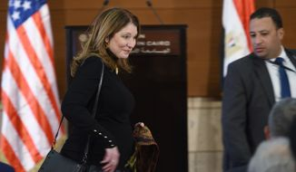 Susan Pompeo arrives to listen to her husband, Secretary of State Mike Pompeo, as he gives a policy speech at the American University Cairo, in the eastern suburb of New Cairo, Egypt, east of the capital, Thursday, Jan, 10, 2019. (Andrew Caballero-Reynolds/Pool Photo via AP)