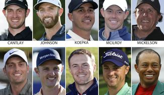 FILE - These are 2019 file photos showing 10 contenders for the U.S. open golf tournament. They are: Patrick Cantlay, Dustin Johnson, Brooks Koepka, Rory McIlroy, Phil Mickelson, Francesco Molinari, Justin Rose, Jordan Spieth, Justin Thomas and Tiger Woods. (AP Photo/File)