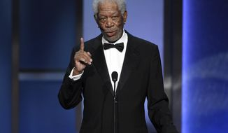 Actor Morgan Freeman makes a speech during the 47th AFI Life Achievement Award ceremony honoring actor Denzel Washington at the Dolby Theatre, Thursday, June 6, 2019, in Los Angeles. (Photo by Chris Pizzello/Invision/AP)