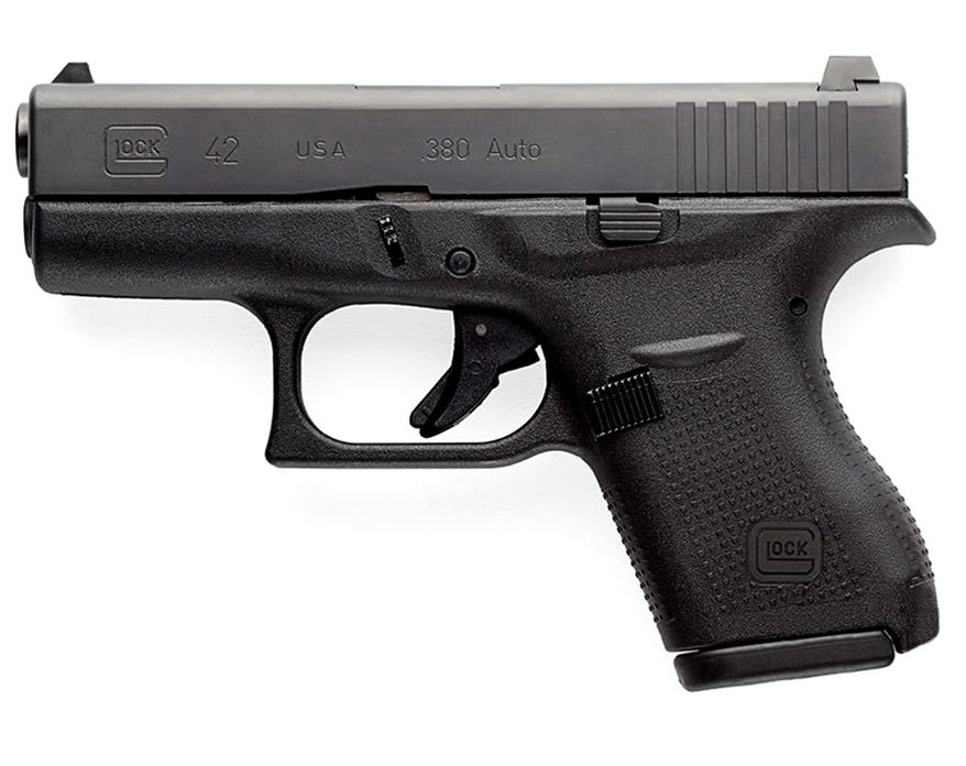 GLOCK 42 - a slimline subcompact pistol engineered with the GLOCK Perfection promise and able to withstand the rigors of routine training. Made in the USA, the G42 is the smallest pistol GLOCK has ever introduced, making it ideal for pocket carry and shooters with smaller hands.