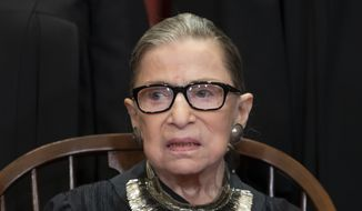 In this Nov. 30, 2018 file photo, Associate Justice Ruth Bader Ginsburg sits with fellow Supreme Court justices for a group portrait at the Supreme Court Building in Washington. (AP Photo/J. Scott Applewhite, File) ** FILE **