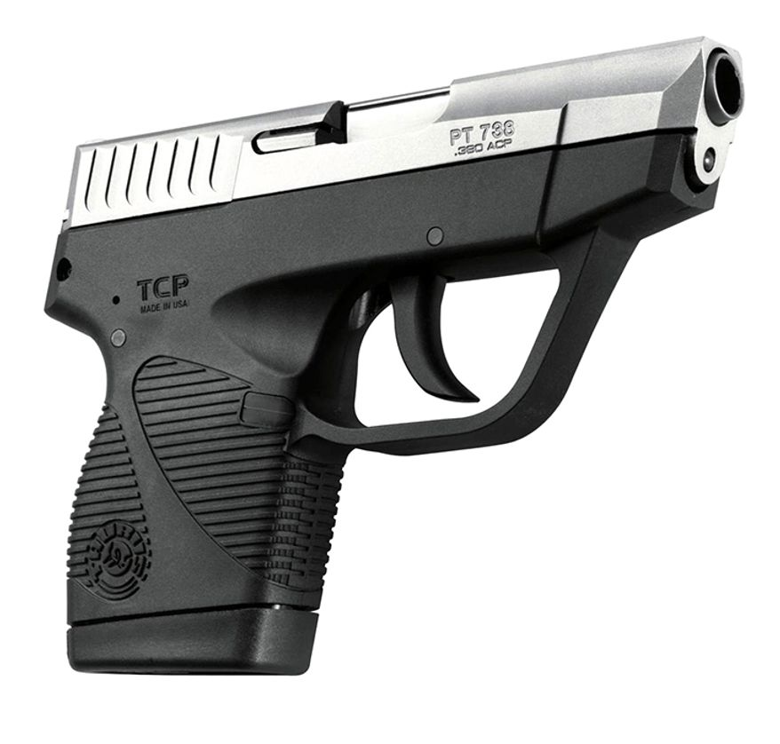 TAURUS 738FS TCP - at 10.2-ounce 738 TCP is the lightest semi-auto in the Taurus line. The 738 TCP offers 6+1 shots of .380 ACP, a durable polymer frame and low-profile fixed sights.