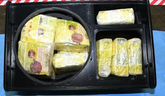 This image released on Friday, June 7, 2019 by Australian Federal Police, shows methamphetamine seized by Australian Border Force. Australian officials say they have seized the nation's largest haul of methamphetamine at the Melbourne waterfront in a shipment of almost 1.6 metric tons (1.8 tons) of the illicit drug hidden in stereo speakers shipped from Bangkok. (Australian Federal Police via AP)
