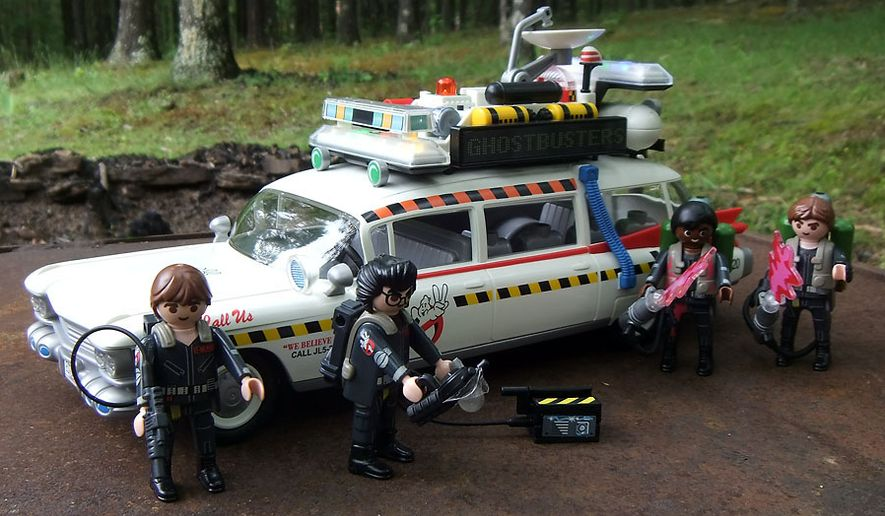 The Ecto-1A with Peter Venkman, Egon Spengler, Winston Zeddemore and Raymond Stantz from Playmobil's latest Ghostbusters collection. (Photograph by Joseph Szadkowski / The Washington Times)