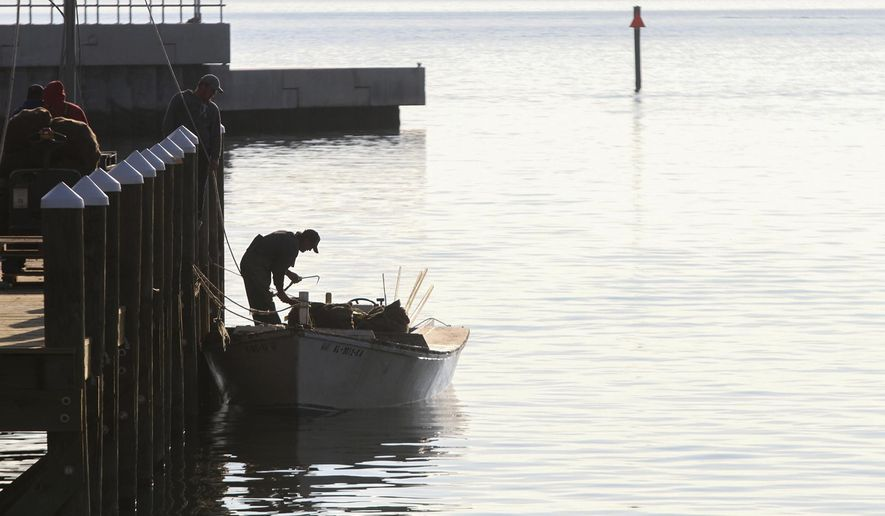 FILE In this Dec. 12, 2014, file photo a fisherman unloads his catch of oysters at the new Pass Christian Harbor, Miss. Mississippi's governor wants the federal government to declare a fisheries disaster as freshwater from a Mississippi River spillway gushes into what's normally a partly salty estuary, killing countless oysters and crabs. (Amanda McCoy/The Sun Herald via AP, File)