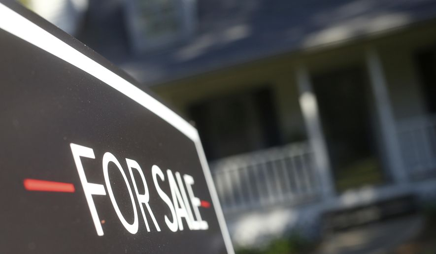 FILE This Oct. 3, 2018 file photo shows a home offered for sale in the Atlanta suburb of Roswell, Ga. Home prices in 2018 climbed 4.5%, while incomes grew 3.2%, according to CoreLogic real estate figures and government wage data. This gap is widening at a slower pace compared to recent years as gains in average hourly earnings have risen. Meanwhile, a slowdown in homebuying since 2018 has limited price gains in real estate and improved affordability. (AP Photo/John Bazemore, File)