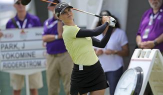 Louise Ridderstrom, of Sweden, tees off during the first round of the ShopRite LPGA Classic golf tournament in Galloway, N.J., Friday, June 7, 2019. (Craig Matthews/The Press of Atlantic City via AP)