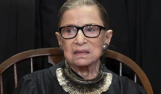 FILE - In this Nov. 30, 2018 file photo, Associate Justice Ruth Bader Ginsburg sits with fellow Supreme Court justices for a group portrait at the Supreme Court Building in Washington. Ginsburg suggested Friday, June 7, 2019, that there will be sharp divisions among her colleagues as they finish their term, with decisions in high-profile cases about the census and the drawing of electoral maps expected before the end of the month. (AP Photo/J. Scott Applewhite, File)