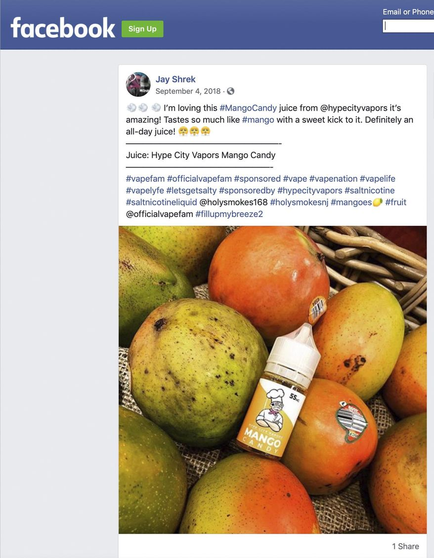 This image captured on Friday, June 7, 2019 shows a Sept. 4, 2018 post on Facebook cited by the U.S. Food and Drug Administration as promoting an e-cigarette formula without including the required nicotine warning statement. On Friday, the FDA sent warning letters to four companies that used paid social media specialists to pitch their fruity and candy nicotine formulas to their online followers. (AP Photo)