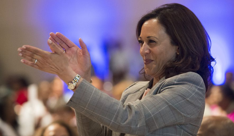 Democratic presidential candidate, Sen. Kamala Harris, D-Calif., applauds during the Alabama Democratic Conference convention at the Renaissance Hotel in Montgomery, Ala., on Saturday, June 8, 2019.  (Jake Crandall/Montgomery Advertiser via AP)/Montgomery Advertiser via AP)