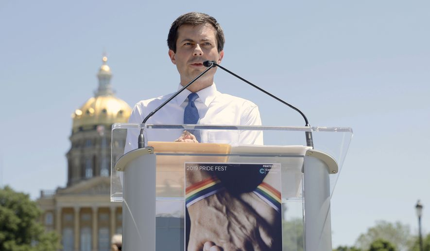 Democratic presidential candidate Pete Buttigieg speaks during the Capital City Pride Fest, Saturday, June 8, 2019, in Des Moines, Iowa. (AP Photo/Charlie Neibergall)