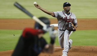 Atlanta Braves' Julio Teheran delivers a pitch during the first inning of a baseball game against the Miami Marlins, Saturday, June 8, 2019, in Miami. (AP Photo/Wilfredo Lee)