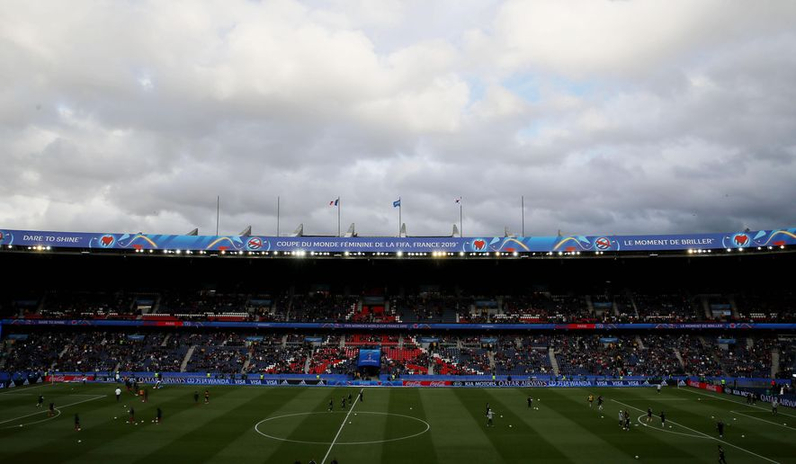 An overview of the stadium ahead of the Women's World Cup Group A soccer match between France and South Korea, at the Parc des Princes in Paris, Friday, June 7, 2019. (AP Photo/Francois Mori)
