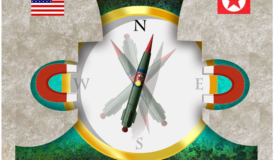 Illustration on the need for continued denuclearization talks with North Korea by Alexander Hunter/The Washington Times