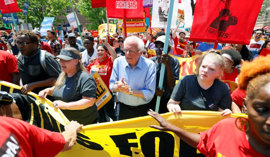 """""""The American people want change, real change, and we have got to provide that change,"""" Democratic presidential candidate Bernard Sanders said. (Associated Press)"""