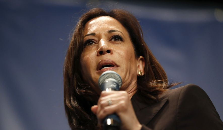 Democratic presidential candidate Kamala Harris speaks during the Iowa Democratic Party's Hall of Fame Celebration, Sunday, June 9, 2019, in Cedar Rapids, Iowa. (AP Photo/Charlie Neibergall)