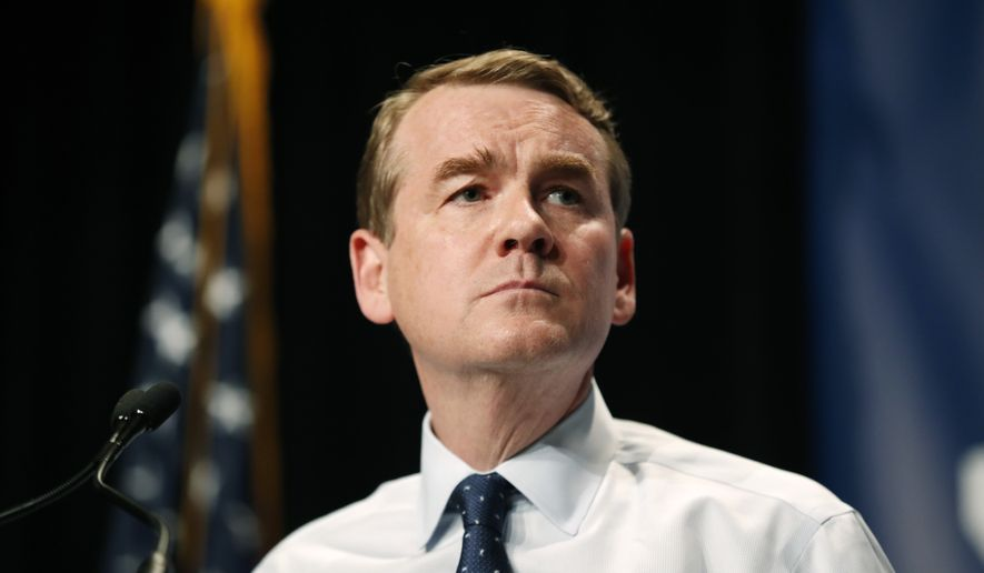 Democratic presidential candidate Michael Bennet speaks during the Iowa Democratic Party's Hall of Fame Celebration, Sunday, June 9, 2019, in Cedar Rapids, Iowa. (AP Photo/Charlie Neibergall) **FILE**