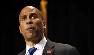 Democratic presidential candidate Cory Booker speaks during the Iowa Democratic Party's Hall of Fame Celebration, Sunday, June 9, 2019, in Cedar Rapids, Iowa. (AP Photo/Charlie Neibergall)