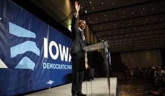 Democratic presidential candidate Beto O'Rourke waves after speaking at the Iowa Democratic Party's Hall of Fame Celebration, Sunday, June 9, 2019, in Cedar Rapids, Iowa. (AP Photo/Charlie Neibergall)