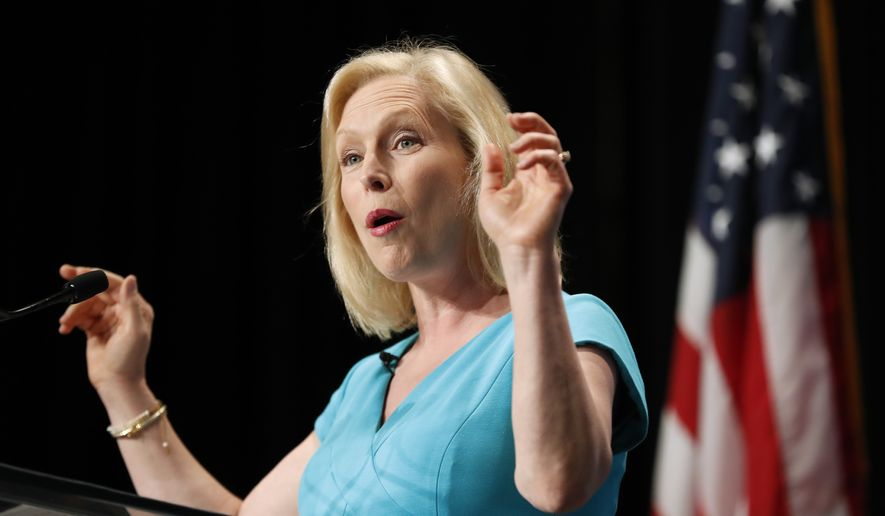 Democratic presidential candidate Kirsten Gillibrand speaks during the Iowa Democratic Party's Hall of Fame Celebration, Sunday, June 9, 2019, in Cedar Rapids, Iowa. (AP Photo/Charlie Neibergall)