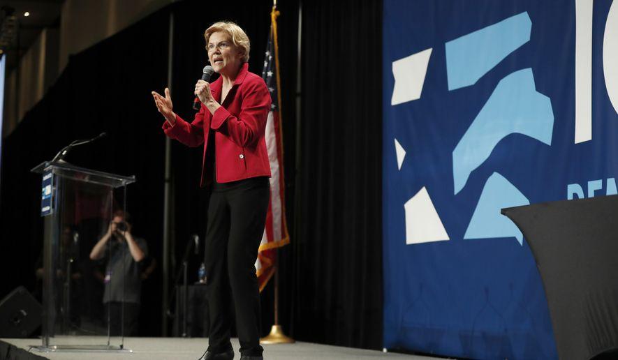 Democratic presidential candidate Elizabeth Warren speaks during the Iowa Democratic Party's Hall of Fame Celebration, Sunday, June 9, 2019, in Cedar Rapids, Iowa. (AP Photo/Charlie Neibergall)