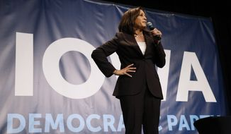 Democratic presidential candidate Kamala Harris speaks during the Iowa Democratic Party's Hall of Fame Celebration, Sunday, June 9, 2019, in Cedar Rapids, Iowa. (AP Photo/Charlie Neibergall)
