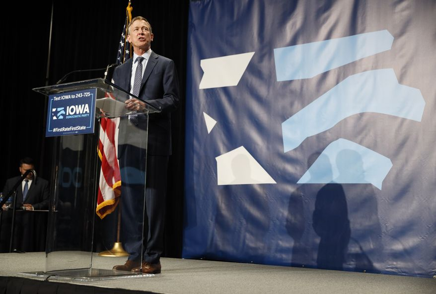 Democratic presidential candidate John Hickenlooper speaks during the Iowa Democratic Party's Hall of Fame Celebration, Sunday, June 9, 2019, in Cedar Rapids, Iowa. (AP Photo/Charlie Neibergall)