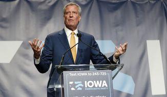 Democratic presidential candidate Bill de Blasio speaks during the Iowa Democratic Party's Hall of Fame Celebration, Sunday, June 9, 2019, in Cedar Rapids, Iowa. (AP Photo/Charlie Neibergall)