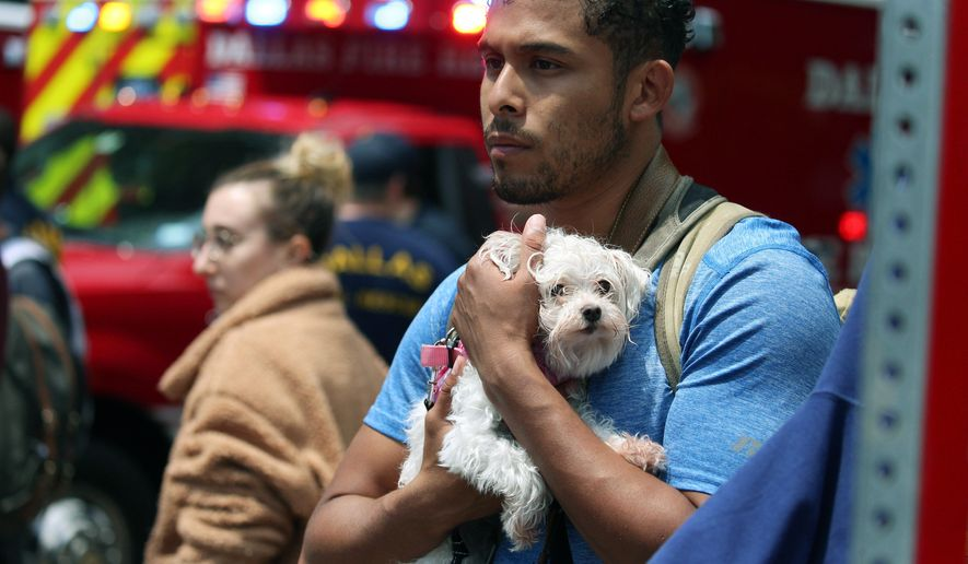 Isaiah Allen, a resident of the damaged apartments, holds onto Princess, as he watches officials respond to a scene after a crane collapsed into Elan City Lights apartments in Dallas, Sunday, June 9, 2019. Allen was in his apartment when he said he heard what he thought was the loudest thunderclap he had ever heard but quickly realized the sound came from the collapsed crane. (Shaban Athuman/The Dallas Morning News via AP)