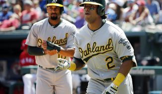 Oakland Athletics Khris Davis (2) celebrates hist two-run home run with Marcus Semien (10), left, during the third inning of a baseball game, Sunday, June 9, 2019, in Arlington, Texas. (AP Photo/Michael Ainsworth)