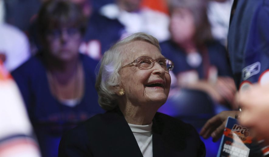 Chicago Bears owner Virginia McCaskey smiles while talking with a fan during the Bears100 Celebration at the Donald E. Stephens Convention Center Saturday, June 8, 2019, in Rosemont, Ill. (John J. Kim/Chicago Tribune via AP)