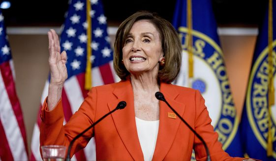 In this June 5, 2019, photo, House Speaker Nancy Pelosi of Calif., speaks at the Capitol in Washington. (AP Photo/Andrew Harnik) ** FILE **