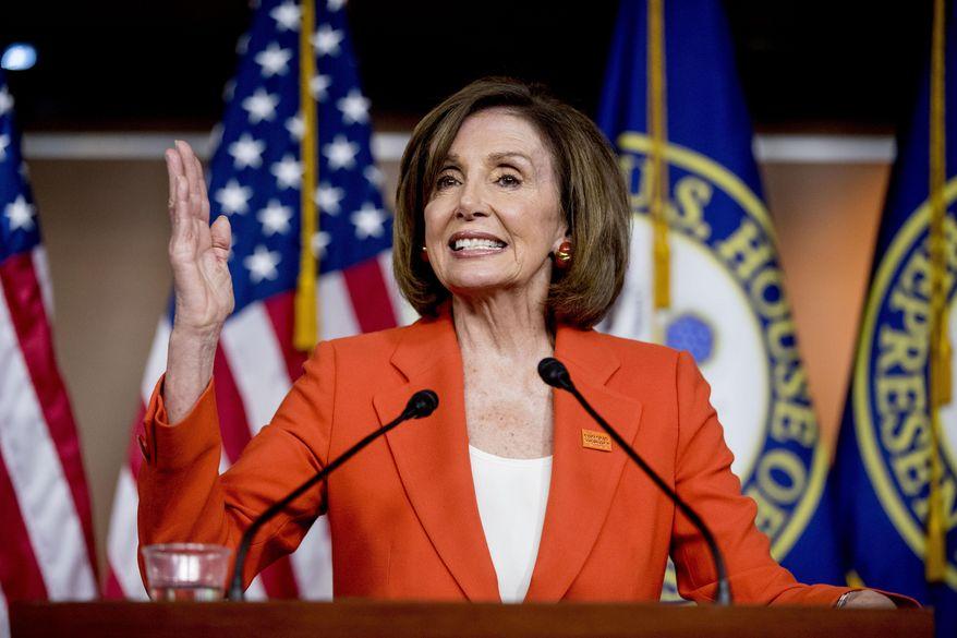 In this June 5, 2019, photo, House Speaker Nancy Pelosi of Calif., speaks at the Capitol in Washington. (AP Photo/Andrew Harnik) ** FILE **