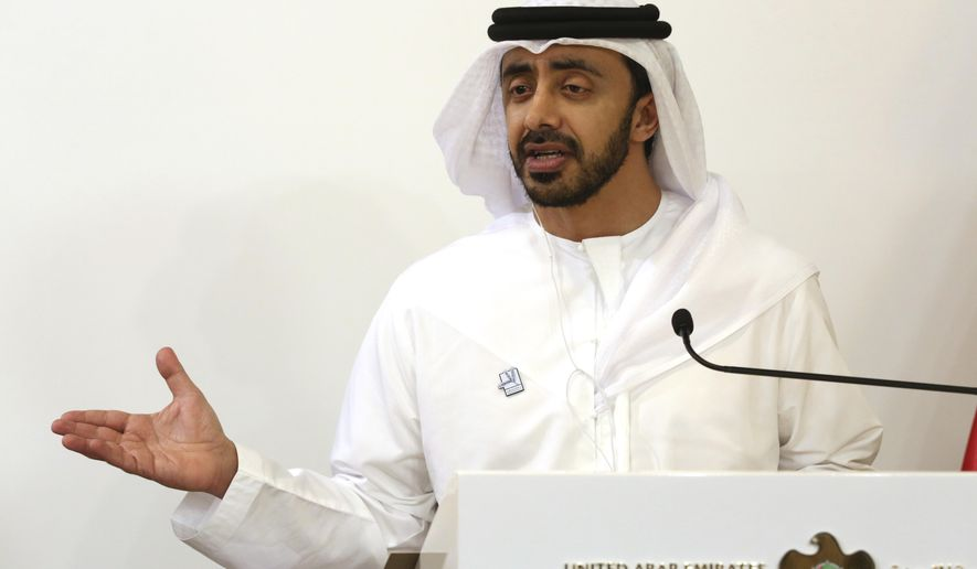The foreign minister of the United Arab Emirates, Sheikh Abdullah bin Zayed Al Nahyan,  gives a news conference with German Foreign Minister Heiko Maas in Abu Dhabi, United Arab Emirates, Sunday, June 9, 2019. Maas visited the UAE as part of a Mideast tour before heading to Iran to discuss heightened regional tensions between Tehran and the U.S. (AP Photo/Jon Gambrell)